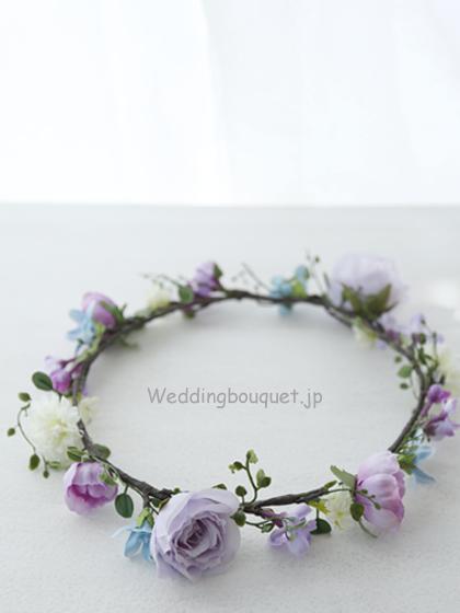花冠  ナチュラルフラワー、紫とブルースター