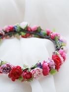 お花冠 丸いローズピンクバラとかわいい実