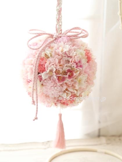 ピンクの桜のボールブーケ