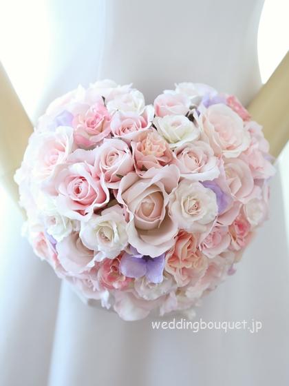 淡いピンクと紫あじさいのハートブーケ