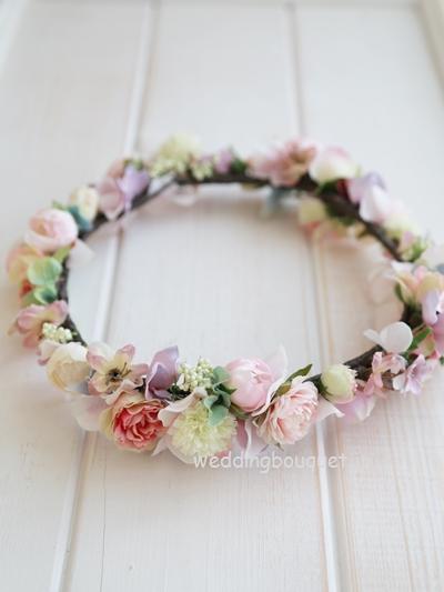 花冠  グレーピンクあじさいと小さなお花