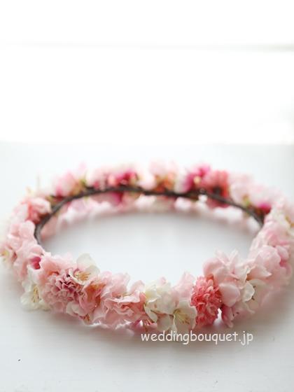 花冠  八重桜とピンポンマム