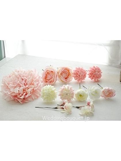 淡いピンク芍薬とピンクとホワイトの丸いお花ヘッドパーツセット