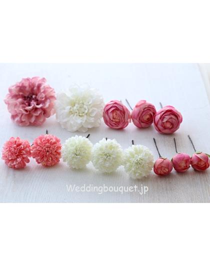 丸いポンポンダリアに丸いお花を組み合わせたホワイトピンクヘッドパーツセット