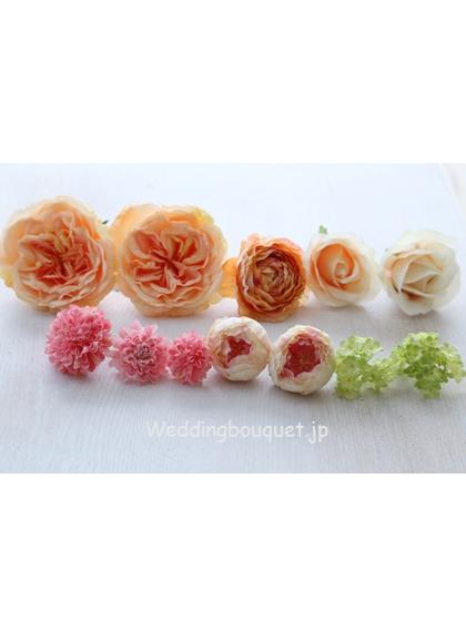 オレンジイングリッシュローズとピンクグリーンヘッドパーツセット