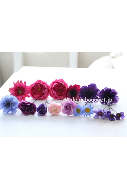 ローズピンクと紫のヘッドパーツセット