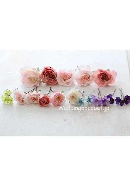 モーヴなバラと小花のヘッドパーツセット
