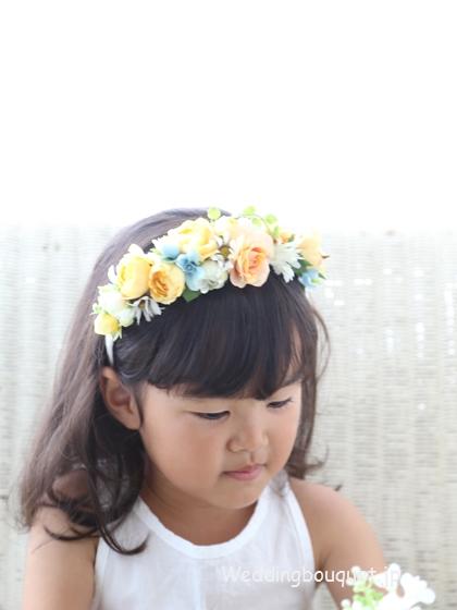 黄色いバラのカチューシャ髪飾り