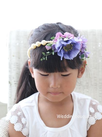 紫のお花のカチューシャ髪飾り