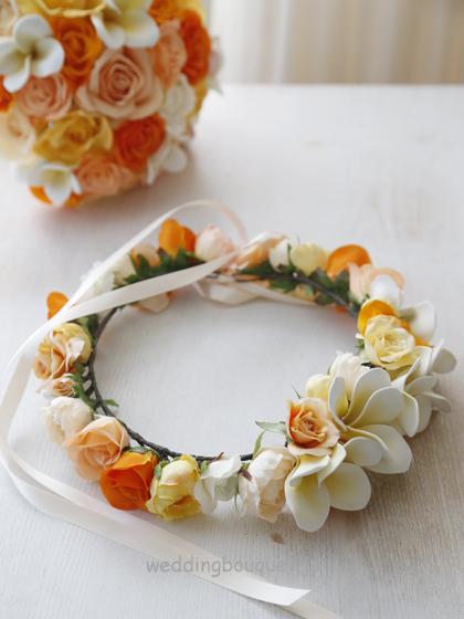 花冠  オレンジローズとプルメリア