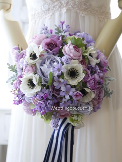紫のバラとアネモネのシャワーブーケ